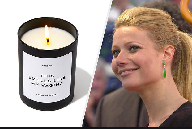 Photo de Gwyneth Paltrow avec sa bougie parfum vagin Jewpop