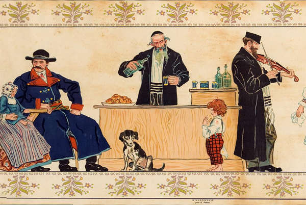 Illustration représentant des juifs hassidiques buvant de l'alcool Jewpop