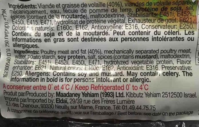 Photo d'un emballage de sauciises casher Jewpop