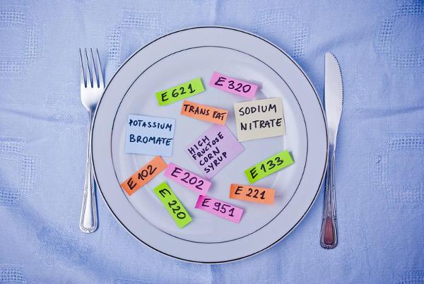 Photo d'une assiette avec des étiquettes additifs alimentaires Jewpop