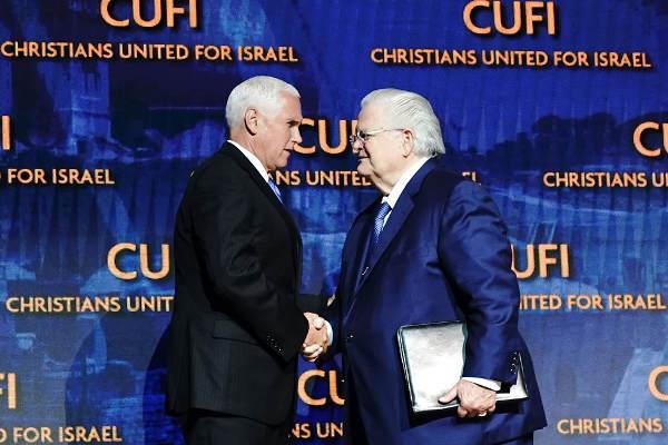 Mike Pence et John Agee à la conférence CUFI Jewpop