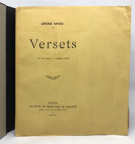 Couverture du recueil de poèmes juifs Verserts d'André Spire Jewpop